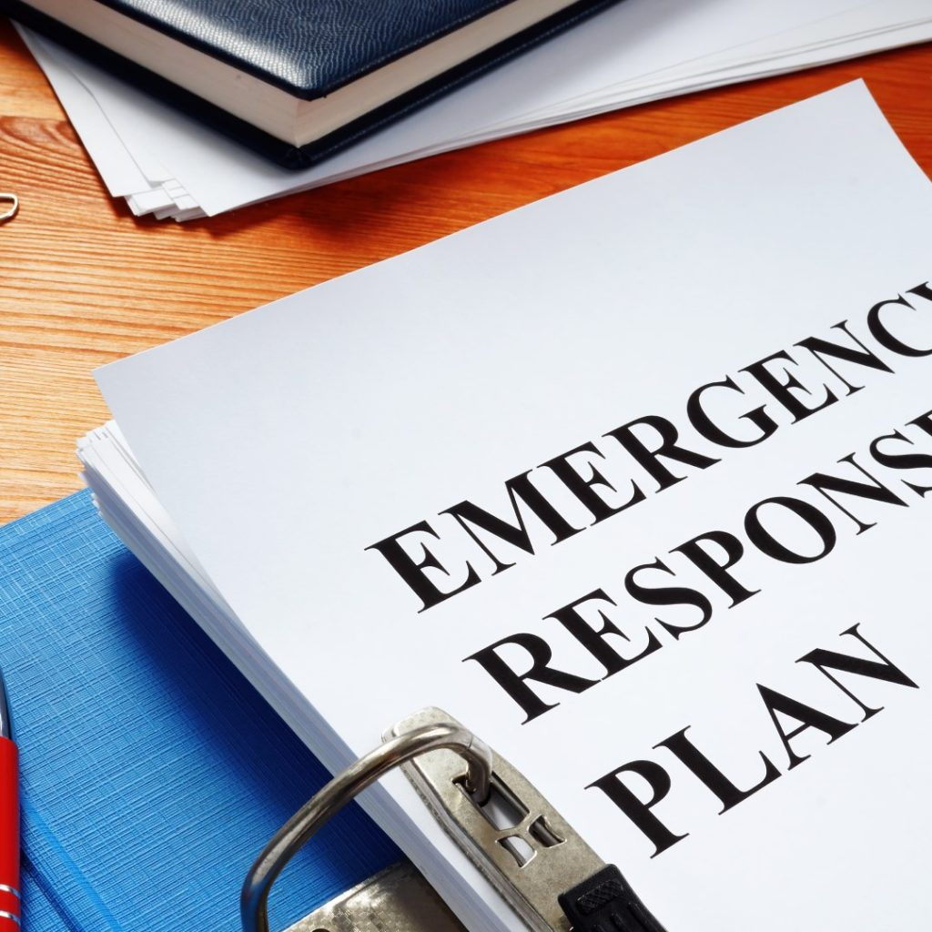 Open folder with Emergency response plan.